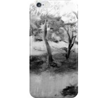 Garden, France - black and white iPhone Case/Skin