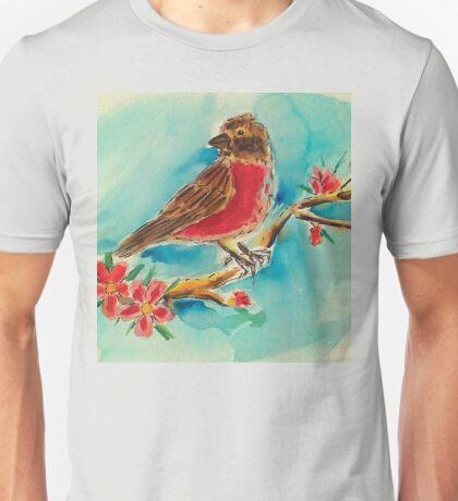 Cherry blossoms & finch Unisex T-Shirt