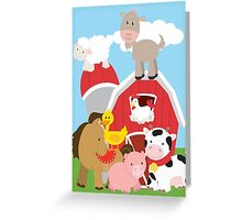 Farm Animals Cow Pig Horse Duck Chicken Goat Greeting Card