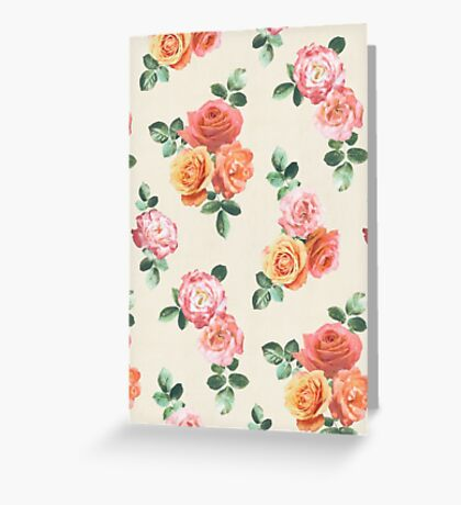 Retro Peach and Pink Roses Greeting Card
