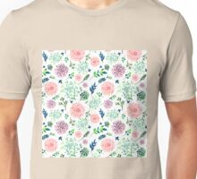 Hand Painted Spring Flourishes Flowers Pattern Unisex T-Shirt