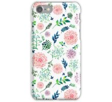 Hand Painted Spring Flourishes Flowers Pattern iPhone Case/Skin