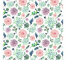 Hand Painted Spring Flourishes Flowers Pattern Photographic Print