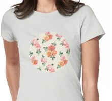 Retro Peach and Pink Roses Womens Fitted T-Shirt