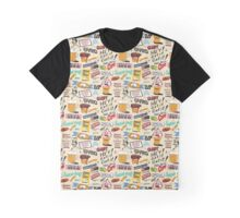 Coney Island Food Sign Pattern - Cream  Graphic T-Shirt