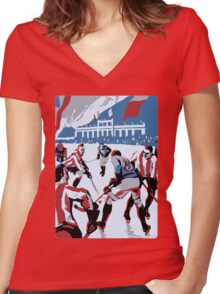 Retro style Ice hockey red white blue Women's Fitted V-Neck T-Shirt