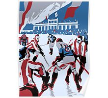 Retro style Ice hockey red white blue Poster