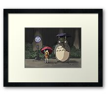 Totoro - Waiting for the Catbus Framed Print