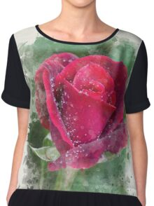 Rose Watercolor Art Chiffon Top