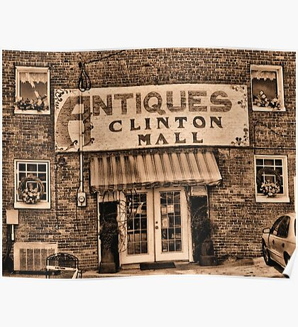 """Antiques, Clinton Mall,  #3""... prints and products Poster"