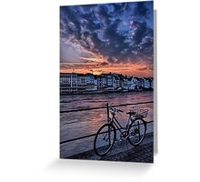 A Sunset Cycle by The Rhine  Greeting Card
