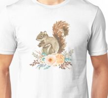 Woodland Floral Squirrel  Unisex T-Shirt