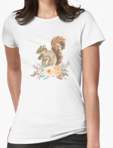 Woodland Floral Squirrel  Womens Fitted T-Shirt