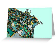 Abstract Map of Dun Laoghaire, Ireland Greeting Card