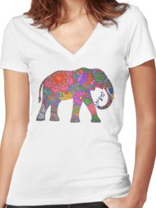 Psychedelic Elephant Women's Fitted V-Neck T-Shirt