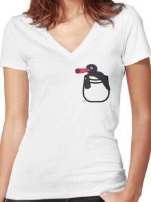 Pingu Pocket Women's Fitted V-Neck T-Shirt