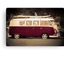 Camper van Surfs up Canvas Print