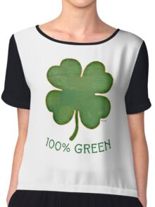 Irish Shamrock - 100% Green Chiffon Top