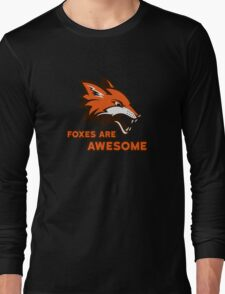 Foxes Are Awesome Cool Retro Cheesy Trashy Clip Art Long Sleeve T-Shirt