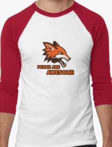 Foxes Are Awesome Cool Retro Cheesy Trashy Clip Art Men's Baseball ¾ T-Shirt