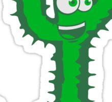 rennender cactus face comic cartoon laughing happily jumping funny Sticker