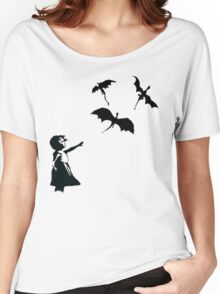 Banksy's Girl With a Balloon/Dragon Women's Relaxed Fit T-Shirt