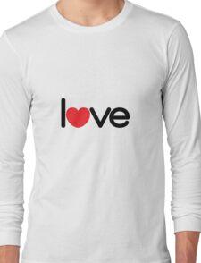 Love (06 - Black & Red on White) Long Sleeve T-Shirt