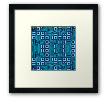 Blue geometric abstract pattern Framed Print
