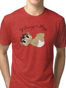 Mommy's Boy Black Hair and Brown Eyes2 Tri-blend T-Shirt