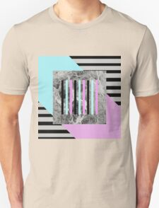Bold Marble Stripes - Abstract Geometric Art In Block Pink And Teal, Marble Black And Black Stripes Unisex T-Shirt