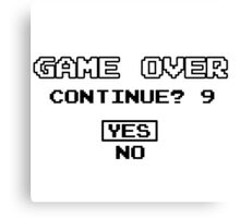 Game Over Continue Gaming Retro Old School 90s  Canvas Print