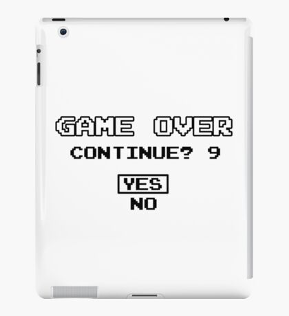 Game Over Continue Gaming Retro Old School 90s  iPad Case/Skin