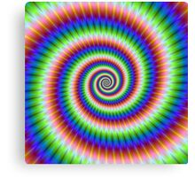 Green Blue Red and Yellow Spiral Canvas Print