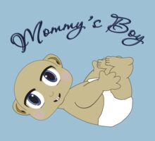 Mommy's Boy Bald and Blue Eyes Kids Tee