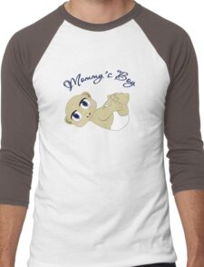 Mommy's Boy Bald and Blue Eyes Men's Baseball ¾ T-Shirt