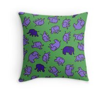 Elephants - Lilac and Blue on Green Throw Pillow