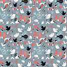 Graphic pattern of different birds by Tanor