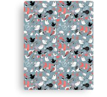 Graphic pattern of different birds Canvas Print