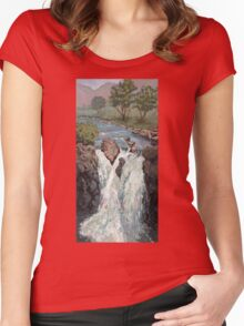 Waterfall in the Scottish Highlands near Glencoe Women's Fitted Scoop T-Shirt