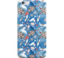 Pattern with sea turtles and whales iPhone Case/Skin