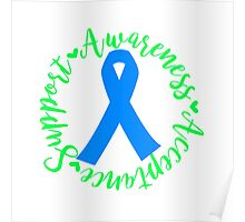 Support Awareness Acceptance - Blue Poster