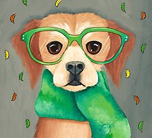 Dog In Scarf and Glasses by Ryan Conners