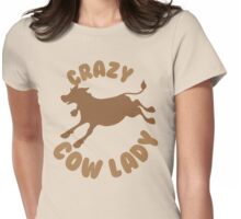 Crazy Cow Lady (in a circle) Womens Fitted T-Shirt