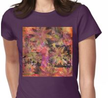 Flower in Black Square (Original Print Colours)  Womens Fitted T-Shirt
