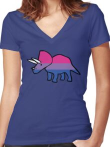 Biceratops (Bisexual Triceratops) Women's Fitted V-Neck T-Shirt