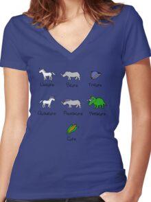 Unicorn, Bicorn, Tricorn, Quadcorn, Pentacorn, Hexacorn ... and Corn Women's Fitted V-Neck T-Shirt