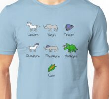 Unicorn, Bicorn, Tricorn, Quadcorn, Pentacorn, Hexacorn ... and Corn Unisex T-Shirt
