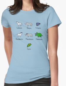 Unicorn, Bicorn, Tricorn, Quadcorn, Pentacorn, Hexacorn ... and Corn Womens Fitted T-Shirt