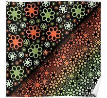 Green Red Thousand Flowers Poster