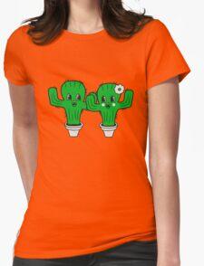 couple love woman man female male girl boy girl boy love flowerpot sweet cute little cactus face comic cartoon child Womens Fitted T-Shirt